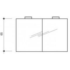 Detremmerie spiegelkast met 2 draaideuren met dubbelzijdige spiegels 140x65cm met 2 ronde verlichting halogeen 075D140D