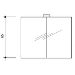Detremmerie spiegelkast met 2 draaideuren met enkelzijdige spiegels 80x65cm met 1 ronde verlichting halogeen 075D080