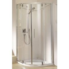 Duscholux Carat douchecabine kwartrond 100x190cm met 2 deuren platinazilver-helder glas 294624190551062