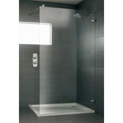 Duscholux Designa vrijstaande wand met traverse 140x204cm met Cleartec platinum/helder 285014120751062