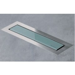 Easy Drain AquaJewels Linea Design glas glans 30cm M2 met zijuitlaat 50mm waterslot 35mm groen AJL-30-M2-35-Z4GG