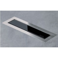 Easy Drain AquaJewels Linea Design glas glans 30cm M1 met zijuitlaat 40mm waterslot 30mm zwart AJL-30-M1-30-Z4GS