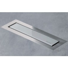 Easy Drain AquaJewels Linea Design glas glans 40cm M1 met zijuitlaat 40mm waterslot 30mm wit AJL-40-M1-30-Z4GW
