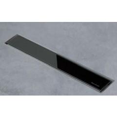 Easy Drain AquaJewels Linea glas glans 40cm M1 met zijuitlaat 50mm waterslot 50mm zwart AJL-40-M1-50-GS