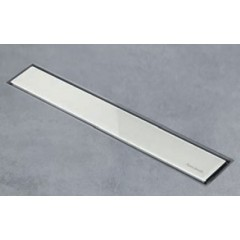 Easy Drain AquaJewels Linea glas glans 40cm M2 met zijuitlaat 50mm waterslot 50mm wit AJL-40-M2-50-GW