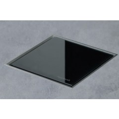 Easy Drain AquaJewels Quattro glas glans 20x20cm met zijuitlaat 50mm waterslot 30/35/50mm zwart AJQ-20X20-GS