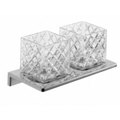 Emco Asio glashouder dubbel wandmodel met kristalglas helder decor 2 chroom 132520402