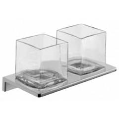 Emco Asio glashouder dubbel wandmodel met kristalglas helder chroom 132520400