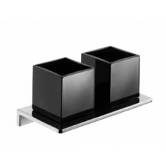 Emco Asio glashouder dubbel wandmodel met kristalglas zwart chroom 132520404