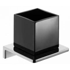 Emco Asio glashouder wandmodel met kristalglas zwart chroom 132020404