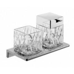 Emco Asio glashouder met zeepdispenser wandmodel met kristalglas helder decor 1 chroom 133120401