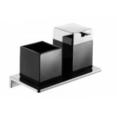 Emco Asio glashouder met zeepdispenser wandmodel met kristalglas zwart chroom 133120404