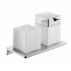 Emco Asio glashouder met zeepdispenser wandmodel met kristalglas wit chroom 133120403