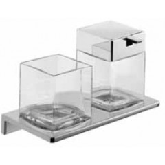 Emco Asio glashouder met zeepdispenser wandmodel met kristalglas helder chroom 133120400