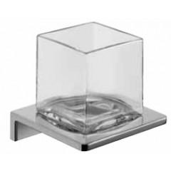 Emco Asio glashouder wandmodel met kristalglas helder chroom 132020400