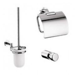 Emco Eposa toiletset compleet met rolhouder, borstelhouder en ophanghaak chroom 089800100