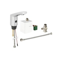 Geberit wastafelkraan automatisch 185 zelfsluitend met mengventiel aansluiting voor warm en koud water met instelbare glans verchroomd 116365211