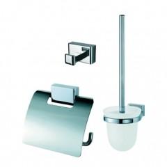 Geesa Bloq toiletset compleet met rolhouder met klep,borstelgarnituur en ophanghaak chroom 7000110