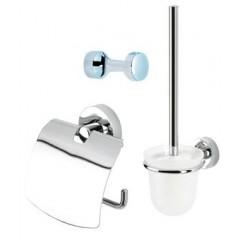Geesa Luna toiletset compleet met rolhouder met klep, borstelgarnituur en ophanghaak chroom 5500110