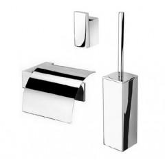 Geesa Modern Art toiletset: closetrolhouder met klep, closetborstelgarnituur en jashaak chroom 3500110