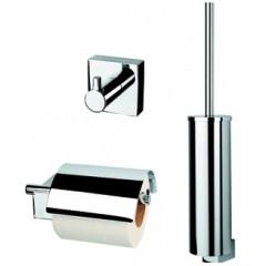 Geesa Nexx toiletset compleet met rolhouder met klep, borstelgarnituur en ophanghaak chroom 7500110