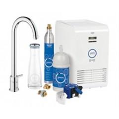 Grohe Blue Mono 1-gats keukenkraan met filterfunctie met hoge ronde uitloop met karaf, CO2-fles en koeler (Chilled & Sparkled) chroom 31302000