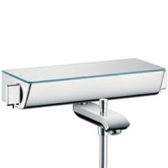 Hansgrohe Ecostat Select badkraan thermostatisch met omstel met koppelingen met planchet van veiligheidsglas wit/chroom 13141400