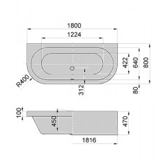 Hoesch HappyD kunststof bad acryl 180x80x45cm vrijstaand met paneel-plint -onderstel wit 6181010