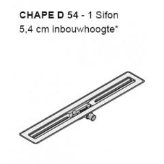 I-Drain Chape 54 deurdrain 110cm uitloop 40 zonder rooster rvs ID4ZSD11001X1