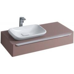 Keramag myDay wastafel onderbouwkast 115x20x52cm voor inbouwwastafel sifonuitsparing links taupe 814261000
