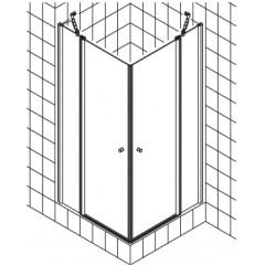 Kermi Atea pendeldeur met vast segment voor hoekinstap (per deel) 90x185cm links met KermiClean glanszilver/helder ATESL09018VPK