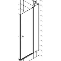 Kermi Atea pendeldeur met vast segment voor hoekinstap (per deel) 100x185cm rechts glanszilver/helder ATESR10018VAK