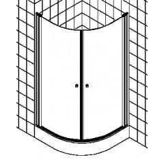 Kermi Atea douchecabine kwartrond met pendeldeuren 90x200cm radius 55cm glanszilver/helder ATV5509020VAK