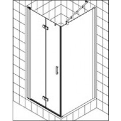Kermi Diga pendeldeur voor zijwand 90x200cm links met KermiClean glanszilver/helder DI2SL09020VPK
