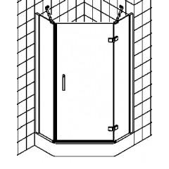 Kermi Gia XP douchecabine vijfhoekig draaideur met vaste segmenten 90x185cm rechts glanszilver/helder GXR4509018VAK