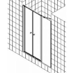 Kermi Ibiza-2000 pendeldeur met vast segment z. profiel 120x185cm links matzilver/helder I2POL120181AK