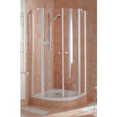 Kermi Ibiza-2000 douchecabine kwartrond met vaste segmenten met pendeldeuren z. profiel 90x185cm matzilver/helder I2O20090181AK