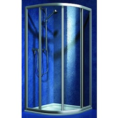 Koralle S300 douchecabine kwartrond 90x195cm met schuifdeuren (R55) alu/helder L65983502524