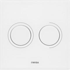 Wisa Luga bedieningsplaat glas pneumatisch 16x16cm met dualflush voor XS WC-element wit 8050419801