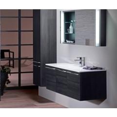 Burgbad Bel hoge kast met 1 deur met binnenspiegel 160x40x35cm vergrootspiegel en verlichting rechts zwart F0580HSBN040R