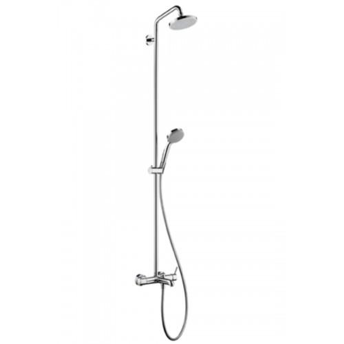 hansgrohe raindance showerpipe ecosmart met badkraan met omstel en koppelingen met croma 100. Black Bedroom Furniture Sets. Home Design Ideas