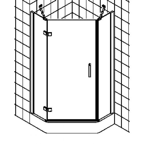 kermi gia xp douchecabine vijfhoekig draaideur met vaste segmenten 90x200cm links glanszilver. Black Bedroom Furniture Sets. Home Design Ideas