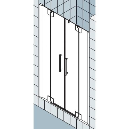kermi pasa xp pendeldeur met vaste segmenten 120x200cm glanszilver helder pxptf12020vak. Black Bedroom Furniture Sets. Home Design Ideas