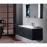 Burgbad Bel For Me meubelset met spiegel met LED verlichting 81x48.7cm met wastafel mineraalsteen hacienda zwart F1296SENJ081C1