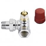 """Danfoss RA-NC thermostatische radiatorafsluiter 1/2"""" bi-bu dubbel haaks rechts chroom 013G4239"""