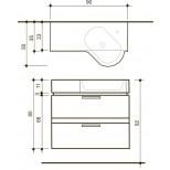 Detremmerie Allure onderbouwkast met wastafel corner right 90cm negro oak 094090CRSM2