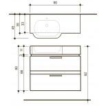 Detremmerie Allure onderbouwkast met wastafel out left 90cm negro oak 094090OLSM2