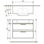 Detremmerie Allure onderbouwkast met wastafel out middle 90cm negro oak 094090OMSM2