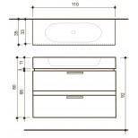 Detremmerie Allure onderbouwkast met wastafel 90cm negro oak 094110SM2