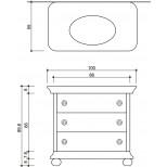 Detremmerie Dolce Vita onderbouwwastafel met wastafel met 3 laden 100cm wit/bloem 014100LSM14